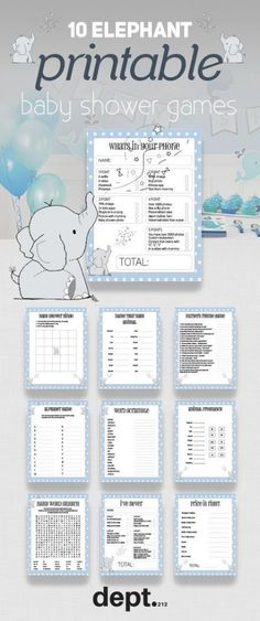 Are you planning an elephant themed baby shower soon for boys or girls. Then thi… Are you planning an elephant themed baby shower soon for boys or girls. Then this pack of 10 fun printable elephant baby shower games will go down a treat with your guests. Dumbo Baby Shower, Baby Shower Bingo, Elephant Baby Showers, Baby Shower Printables, Juegos Baby Shower Niño, Mesas Para Baby Shower, Baby Shower Decorations For Boys, Boy Baby Shower Themes, Elephant Decorations