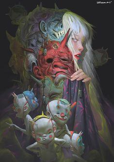 art art conceitual Zeen Chin on Art Et Illustration, Character Illustration, Art Inspo, Art Japonais, Art Anime, Japanese Art, Japanese Folklore, Oeuvre D'art, Cyberpunk