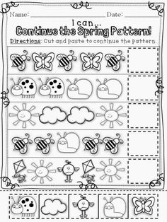 In case you couldnt tell, I am brand-spankin new to the land April Preschool, Preschool Writing, Preschool Learning Activities, Preschool Lessons, Preschool Worksheets, Preschool Bug Theme, Pattern Worksheet, Math Patterns, Math For Kids