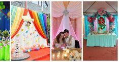 17 Ideas de cómo decorar fondos con tela Baby Shawer, Diy Backdrop, Backdrops For Parties, Event Decor, Diy And Crafts, Balloons, Shower, Party, Wedding