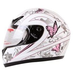 Pink full faced helmet wth butterflies