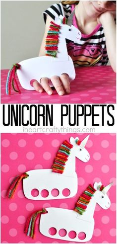 Títere DIY de unicornio Unicorn Kids, Unicorn Horse, Unicorn Crafts, Fun Crafts For Kids, Animal Crafts For Kids, Projects For Kids, Art For Kids, Puppet Making, Kindergarten Crafts