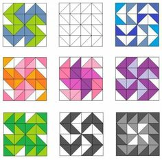 Dutchman's puzzle and variation quilt blocks Quilting Templates, Quilting Tutorials, Quilting Projects, Quilting Designs, Graph Paper Drawings, Graph Paper Art, Half Square Triangle Quilts Pattern, Square Quilt, Barn Quilt Patterns