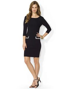 LAUREN RALPH LAUREN Two Toned Sweater Dress - BLACK