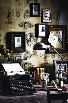 Office - i can paint the walls dark beige and find stencils for the designs. The stencil part would be a DIY for me.  vintage, steampunk, frames, dark romantic, wallpaper, rustic soft, dark, old office