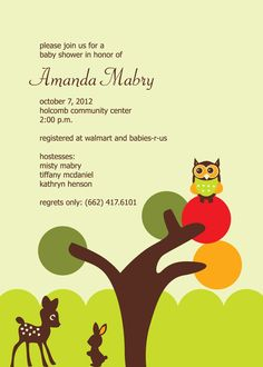 Green and brown baby shower invitation owl tree squirrel and baby deer