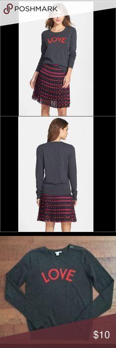 Halogen Love Sweater Gray Halogen Crewneck Love Sweater Size Small Halogen Sweaters Crew & Scoop Necks