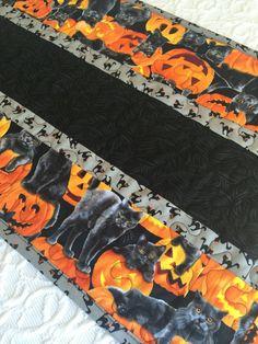 Halloween Table Runner Quilt  Black  Orange  Cats  by KeriQuilts