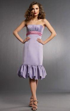 Simple Princess Satin Sleeveless Strapless Tea-length Wedding Party Dresses