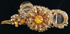 Vintage Miriam Haskell Brooch Pin~Crystals/RS/Seed Beads/Gilt Filigree~Signed #MiriamHaskell