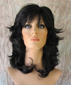 Medium Wig Jet Black Sexy Wavy Choppy Multi Layers Bangs USA Seller Kanekalon #FullWig