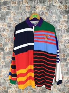 Vintage Sportswear Polo Rugby Shirt Mens Large Colorblock Striped Multicolour Hip Hop P Wing Stadium Polo Rugby Sport Shirt Size L Rugby Sport, Polo Rugby Shirt, Vintage Sportswear, Sports Shirts, Color Blocking, Vintage Outfits, Canterbury, Clothes, Outfits
