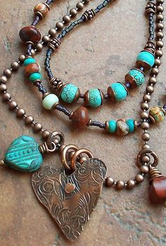I love the mixture of textures, turquoise, metals & beads :)