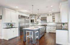 grey kitchen with dark wood floor - Google Search