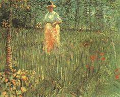 A woman walking in garden, 1887, Vincent van Gogh Medium: oil on canvas