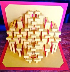 DIY Template Split quarters Kirigami Pop-up paper por Ullagami Kirigami Templates, Origami And Kirigami, 3d Paper, Paper Crafts, Paper Architecture, Paper Engineering, Up Book, Pop Up Cards, Popup