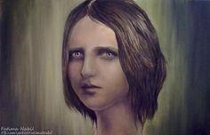 Oil painting by Fatima Nabil  www.facebook.com/artistFatimaNabil  #art #sad #painting #paintings #oil_painting #girl #eye #hop #eyes #drawings