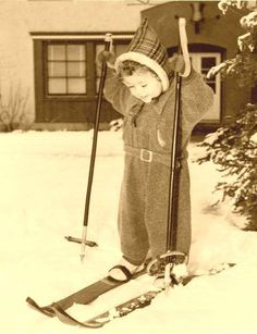 Little kid skiing,1950s