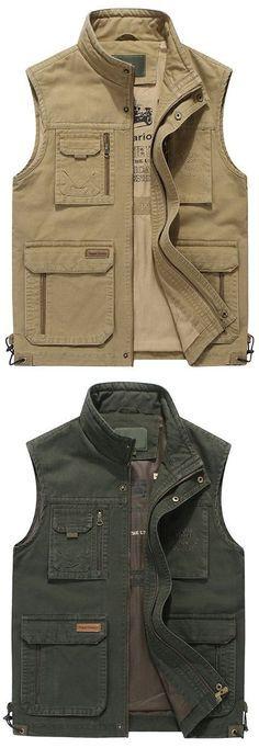 Casual vest Hombres Deportes al Aire Libre Viajes Bolsillos M/últiples Chaleco sin Mangas Bolsos de Pesca Chalecos,Khaki,2XL