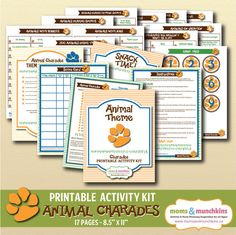 Charades For Family Fun: Animal theme (includes 10 printable games, score card, fun snack ideas and more!)