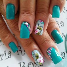 Teal Nail Designs, Colorful Nail Designs, Gorgeous Nails, Pretty Nails, Spring Nails, Summer Nails, Hair And Nails, My Nails, Teal Nails