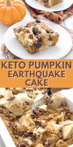 Pumpkin Earthquake Cake: a deliciously twisted keto pumpkin spice cake with cream cheese, pecans, and chocolate chips. It's the perfect easy keto dessert for fall! Sugar Free Desserts, Low Carb Desserts, Fun Baking Recipes, Keto Recipes, Almond Flour Cakes, Keto Friendly Chocolate, Ceramic Baking Dish, Single Serve Desserts, Pumpkin Spice Cake