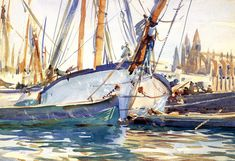 John Singer Sargent (Shipping, Mallorca) from Art Global Galery Whistler, Renoir, Monet, John Singer Sargent Watercolors, Vintage Boats, American Artists, Great Artists, Famous Artists, Canvas Art Prints