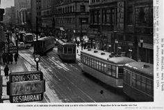 Rush hour traffic on Montreal's Ste-Catherine Street, seen here in 1944 at Stanley Street. Montreal Ville, Montreal Quebec, Quebec City, Dublin, Rue Sainte Catherine, Circulation, Travel Oklahoma, Canadian Rockies, New York Travel