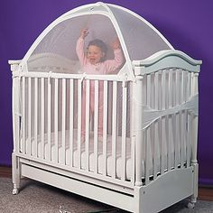 Crib tent, such a good invention, just saw a video and prevents climbing and blankies/toys being tossed out of the bed,. Keeps kitties out too. This particular model got recalled.. not sure why.. but the idea is superb.
