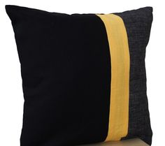 Black Pillow -Throw Pillows color block -Couch Pillows - Decorative cu | AmoreBeaute - Housewares on ArtFire