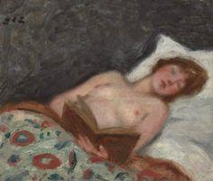 Jeune femme lisant au lit. Georges d'Espagnat (French, 1870-1950). Oil on…