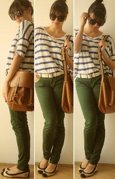 Um ano sem Zara - calça verde com blusa listrada :)