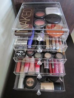 Makeup Storage Ideas. Not quite sure if I have enough makeup to fill this up, but it'd be nice to have all of my stuff where I can see it instead of digging through my bag.