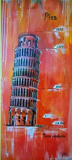 Pisa Torre pendente, Acryl Copic auf MDF, Hochglanzfirnis