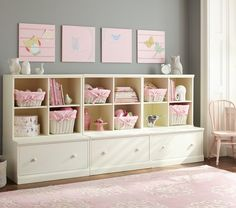 Cameron 3 Cubby & 3 Drawer Base Set Pottery Barn Kids - I would do Tuscan wood since most of my house is dark woods. Baby Furniture Stores, Nursery Furniture, Kids Furniture, Furniture Storage, Furniture Sets, Furniture Design, Playroom Decor, Kids Decor, Playroom Storage