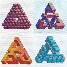 #isometric #penrosetriangle #geometry #symmetry #handmade #mathart #regolo54 #escher #oscareutersvärd #triangle #pencil