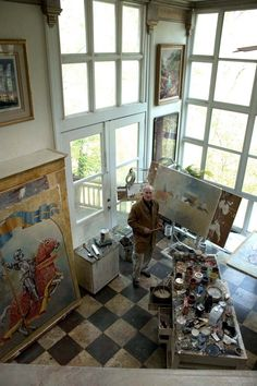 Artist Larry Mansker in his studio, part of the Eureka Springs Artists' Studio