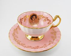 Vintage Aynsley H.R.H. Princess Margaret Tea Cup Pink and Gold Bone China 1958 England