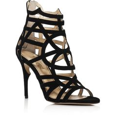 Jerome C. Rousseau Greco Caged High Heel Sandals (3.130 BRL) ❤ liked on Polyvore featuring shoes, sandals, caged sandals, black cage shoes, kohl shoes, caged shoes and jerome c rousseau shoes