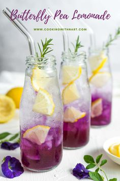 This butterfly pea tea lemonade is refreshingly sweet, tangy and fragrant. Also, it's super easy to make and comes with several health benefits! Lemonade Tea Recipe, Peach Lemonade, Tea Recipes, Smoothie Recipes, Cooking Recipes, Asian Recipes, Cocktail Recipes, Smoothies, Martini Recipes