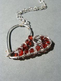 Red heart necklace, wire wrapped jewelry, handmade silver jewelry, handmade wire wrapped heart jewelry