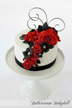 White, black, and red cake