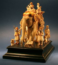 Large Antique Hand Carved Ivory Indian Folk Art Tiger Asian Elephant - http://www.busaccagallery.com/catalog.php?catid=87&itemid=6098&page=1