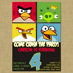 ANGRY BIRDS - Birthday Party Invitation - Printable - DIY 5x7 on Etsy by 4LeafBoutique