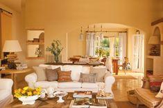 Sunny home in Mallorca – Adorable Home New Living Room, Home And Living, Living Room Furniture, Living Spaces, Condo Design, Home Interior Design, House Design, Rustic Wood Decor, Family Room Decorating