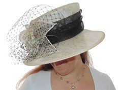 Cream & Black Hat - Large Brim - Sinamay | Hat Borrower
