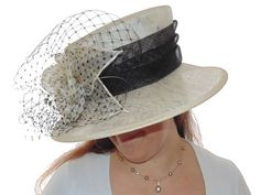 Cream & Black Hat - Large Brim - Sinamay | Hat Borrower