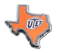 University of Texas El Paso State Shape Color Car Emblem