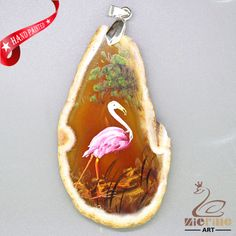 SERENE HAND PAINTED FLAMINGOS GEMSTONE AGATE DIY NECKLACE PENDANT  ZL8009978 #ZL #Pendant