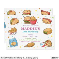 Kawaii Cute Fast Food Party Girl Birthday Invitation